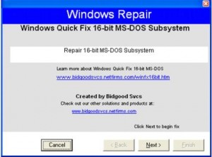 16-bit MS-DOS Subsystem Error Quick Fix