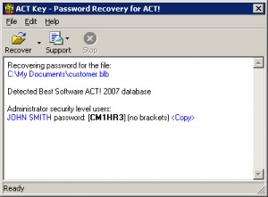 ACT Password Recovery Key