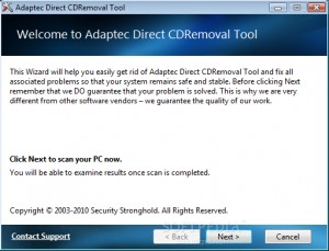 Adaptec DirectCD Removal Tool