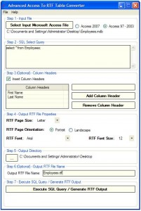 Advanced Access To RTF Table Converter