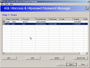 AQL htpasswd & htaccess Password Manager