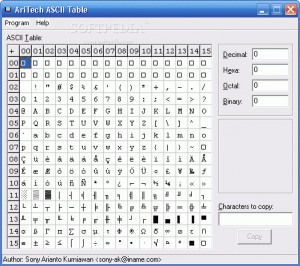 Ascii list downloads for Complete ascii table 0 255