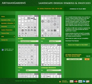 Artisans Gardens Landscape Design Symbols in Plan View Color