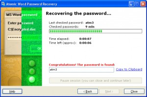 Atomic Word Password Recovery