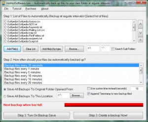 Automatically back up files to your own folder at regular intervals