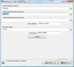 Backup to CAB Archive File