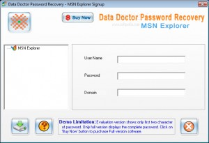 Data Doctor Password Recovery - MSN Explorer