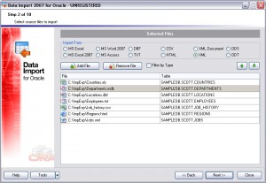 EMS Data Import for Oracle