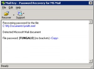 Mail Password Recovery Key