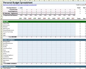 Personal Finance Spreadsheet for budgeting personal finances in Excel