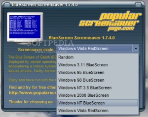 PS Bluescreen screensaver