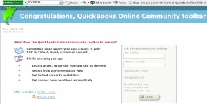 QuickBooks Online Community toolbar for IE