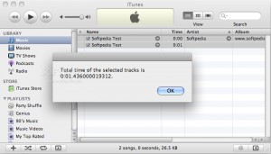 Total Time of Selected Tracks