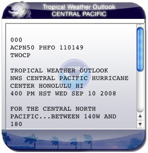 Tropical Weather Outlook Central Pacific