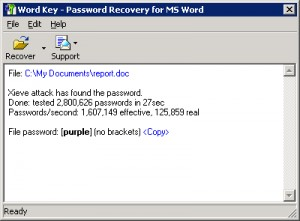 Word Password Recovery Key